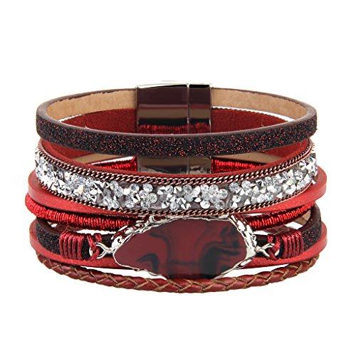 LIANCHI Braided Wrap Bracelet – Leather Cuff Bangle – Agate Stone Crystal – for Women,Girl Gift (Red leather jewelry) -