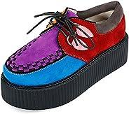 RoseG Women's Handmade Suede Lace Up Flat Platform Creepers