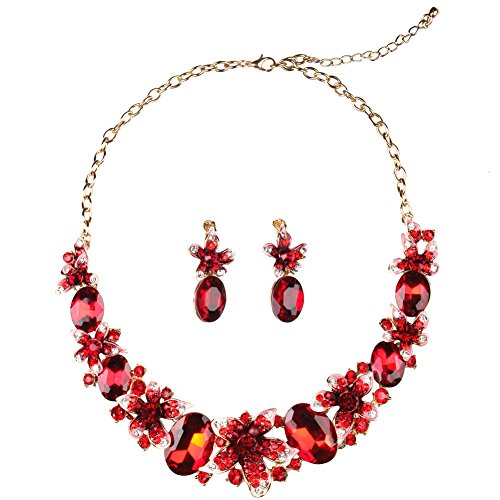 Hamer Women's Red Handmade Crystal Choker Flowers Statement Necklace Gold Plated Chain Pendant Jewelry