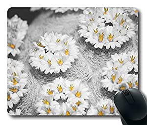 Mouse Pad Cactus Flowers Black White Yellow Desktop Laptop Mousepads Comfortable Office Mouse Pad Mat Cute Gaming Mouse Pad by runtopwell