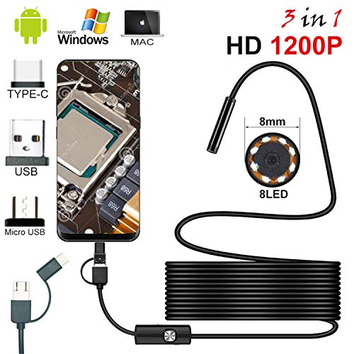 USB Endoscope Camera,3in1 Type-C&USB&Micro Ports Semi-Rigid Hard Cable,HD 1200P Borescope with 8mm lens 2MP Snake Camera 8 Adjustable led For Android Smartphone PC (2M Hard Cable)