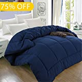 Alternative Comforter - Queen Luxury Hotel Collection 1800 Series - Goose Down Alternative Comforter Hypoallergenic Quilted Duvet Insert With Corner Tabs - All Season - 88 by 88 inches - Navy