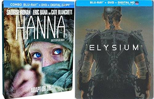 Elysium Exclusive Steelbook Edition & Hanna Steelbook Blu Ray + DVD 2 Pack Action Movie Set