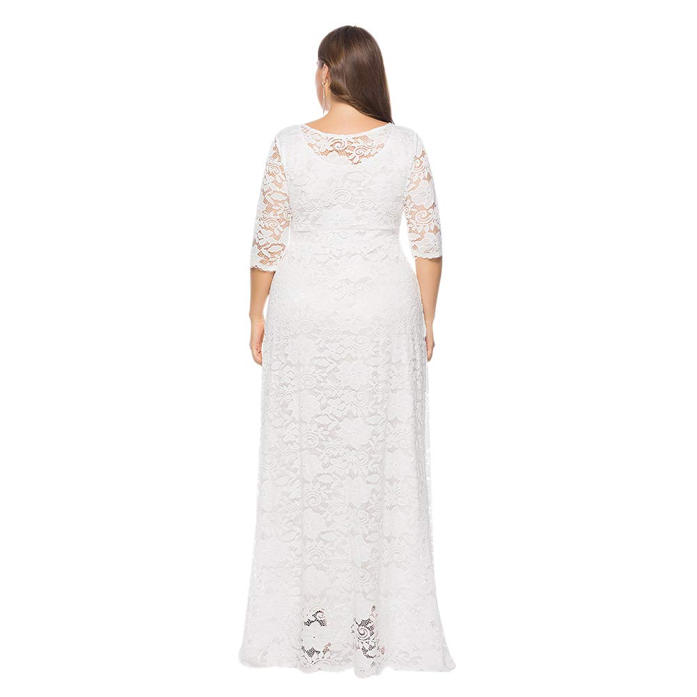 Xinvision Plus Size Full Lace Maxi Dress Pockets Wedding Ceremony ...