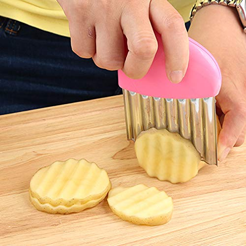 Wavy Knife Crinkle Cutter Chopping Tool Slicer With Stainless Steel Blade Potato Wavy Edged Knife Kitchen Gadget Vegetable Fruit Cutting Peeler Cooking Tool Accessories 4 Pack Multicolor by J&Q (Image #6)