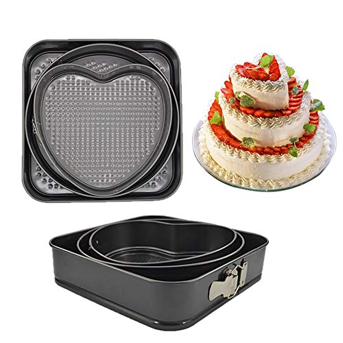 LY-LONGER Nonstick Cake Pan Baking Pan Cheesecake Pan Springform Pan Leakproof Bakeware Chiffon Cake Mould 9.5'' 10.5'' 11'' Set of 3 Square Round Heart-shaped with Removable Bottom for DIY Baking
