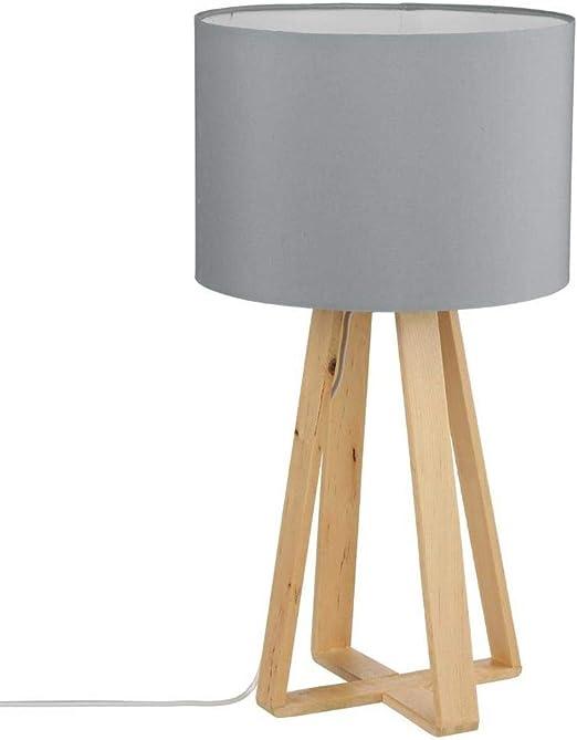 Lámpara de mesa con pie de madera natural, pantalla de color GRIS: Amazon.es: Iluminación