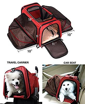 Premium Airline Approved Expandable Pet Carrier by Pet Peppy- TWO SIDE Expansion, Designed for Cats, Dogs, Kittens, Puppies - Extra Spacious, Comfortable, Soft Sided Travel Carrier!