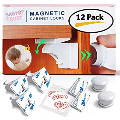 Baby Proofing Magnetic Cabinet & Drawers Locks Child Safety -12 Latches & 2 Keys BabyTrust