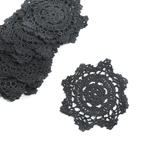Factory Direct Craft 6 Black Round Cotton Hand Crocheted Lace Doilies, Set of 12
