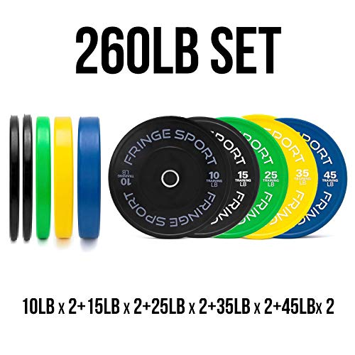 Color Bumper Plate Sets/Virgin Rubber w/Steel Insert/Low Odor + Dead Bounce/Crosffit, Olympic Weightlifting, Strength Training Equipment (260)