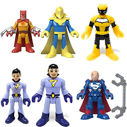 Imaginext Fisher Price DC Superfriends Series 6 Complete Set (Sealed Bags) Includes Dr. Fate, Lex Luthor (Super Suit), Wonder Twins (Zan & Jayna), Duke Thomas (Signal) and Catman