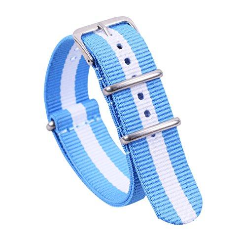 20mm Blue/White Deluxe Premium Nato Style Delicate Exotic Nylon Men's Wrist Watch Band Wristband
