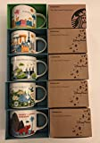 5 Mug Set: Animal Kingdom+ Magic Kingdom+Epcot+ Disney's Hollywood Studios+ Florida You Are Here YAH 14 Oz. Starbucks Mugs