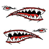 MonkeyJack Set of 2 Pieces Cool Sharp Shark Teeth Vinyl Decals for Fishing Boat Kayak Canoe