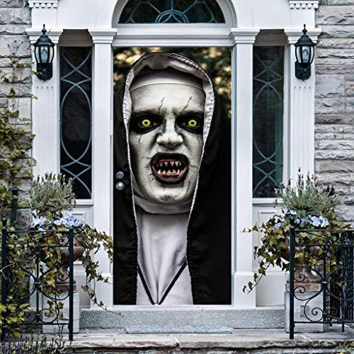 ☀ Dergo ☀ Halloween Ghost Sticker,Door Mural Halloween Ghost Sticker Peel & Stick Wallpaper Decal Horrible Skull
