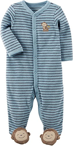 Carter's Baby Boys One Piece Striped Monkey Sleep & Play,Blue, Newborn