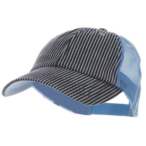 Low Profile Pinstripe Denim Trucker Cap - (Denim Pinstripe Cap)