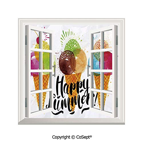 (SCOXIXI Removable Wall Sticker,Cute Print of Ice Cream Cones and Fruit Milk Dessert for Kids Sequal Artwork,Window Sticker Can Decorate A Room(26.65x20 inch) )