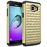 Galaxy A5 (2016 Release) Case, TownShop® Black/ Gold Spot Diamond Studded Bling Crystal Rhinestone Dual Layer Hybrid Cover Silicone Rubber Skin Hard Case For Samsung Galaxy A5/ A510F (2016)