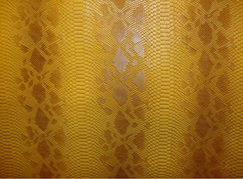 Vinyl Faux Fake Leather Snake Viper Caramel Embossed Pattern Upholstery Fabric Sold By the Yard 55