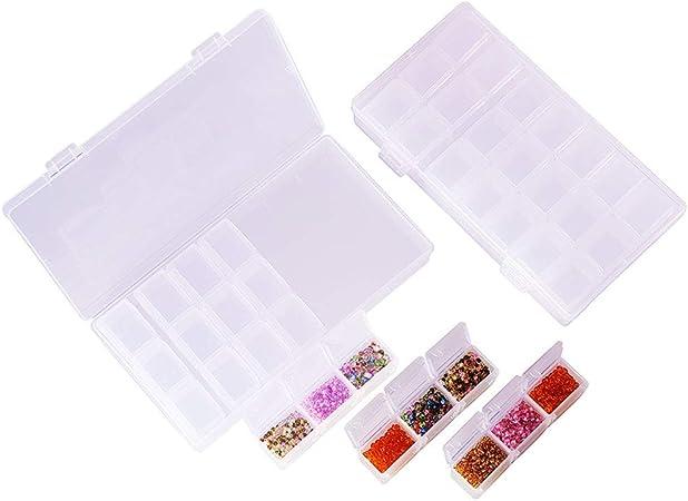 BENECREAT 3 Pack Contenitore in plastica Trasparente Confezione Contenitore da 21 Scomparti per riporre la Capsula con Capsula diamantata 20.3x10x3.6cm