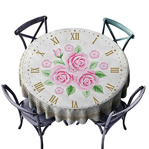 ScottDecor Pattern Round Tablecloth Circular Table Cover Shabby Chic,Vintage Clock Face Roses Roman Numbers Antique Vintage Style, Pale Pink Green Dark Khaki Diameter 60