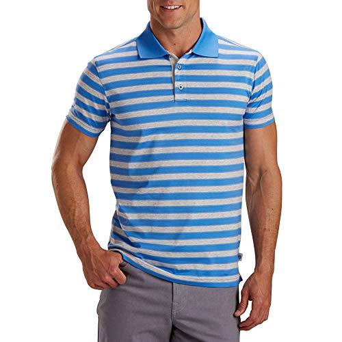 - Bobby Jones Unity Stripe Mercerized Cotton Shortsleeve Golf Polo 2018 Ocean Blue Medium