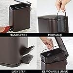 mDesign-Papelera-de-bano-Rectangular–Cubo-metalico-de-5-litros-con-Pedal-tapadera-y-Cubo-Interior-de-plastico–Elegante-contenedor-de-residuos-para-bano-Cocina-y-Oficina–Color-Bronce