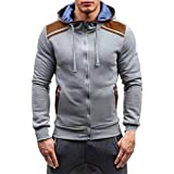 ღ Ninasill ღ Mens Autumn&Winter Long Sleeve Zipper Hooded Sweatshirt Tops Blouse (XL, Gray)