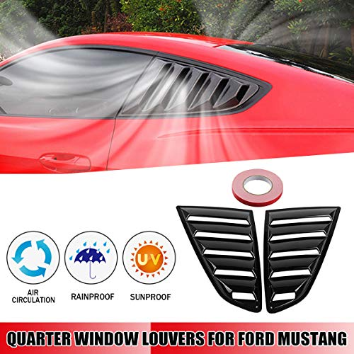 - Gavita-Star - 2Pcs 1/4 Quarter Car Side Window Scoop Louvers Vent Visors Five Slot Open Louvers ABS for ford for Mustang Fastbacks 2015-