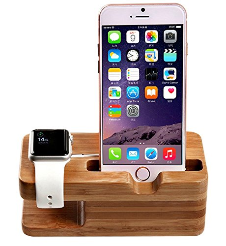 Annymall Bamboo Wood Charge Dock, Charge Dock Holder, Charge Station/Cradle/Stand for Apple Watch, iPhone, Samsung & Smartphones ()