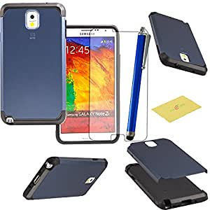 Fulland Hybrid Tough Armor TPU + PC Hard Case Cover for Samsung Galaxy Note 3 N9000 Plus Stylus Pen and Screen Protector-Grey