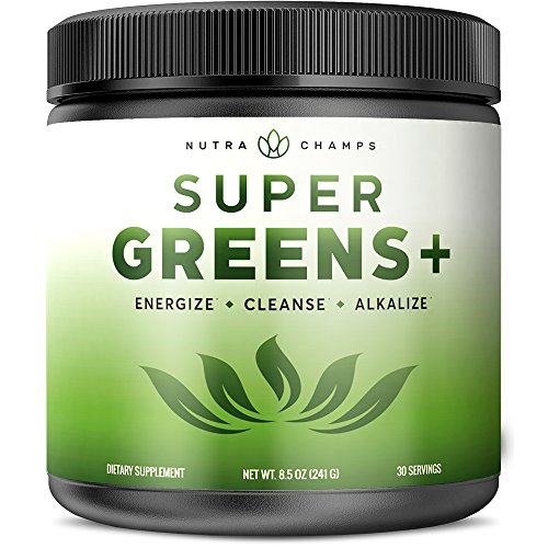 Super Greens + Premium Superfood Powder – 20+ Organic Green Veggie Whole Foods – Wheat Grass, Spirulina, Chlorella & More – Antioxidant, Digestive Enzyme & Probiotic Blends | Vegan Juice Supplement