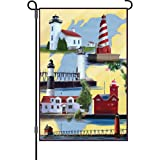 Premier Kites 51134 Garden Brilliance Flag, Michigan Lighthouse, 12 by 18-Inch