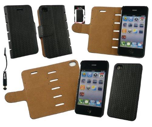 Emartbuy® Pack Stylet Pour Apple Iphone 4 4G 4GS Cuir Pu Slim 2 En 1 Wallet Case Etui Coque Avec Emplacements Pour Les Cartes De Crédit + Mini Metallic Noir Stylus + Protecteur D'Écran Noir / Tan