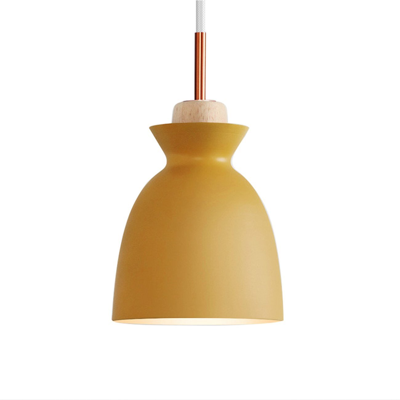 Nordic Modern Pendant Ceiling Light Nordic Macaron Aluminum+Wood Chandelier Fixture Kitchen Pendant Lighting Living Room Pendant Lighting-UL Certification (Yellow-A)