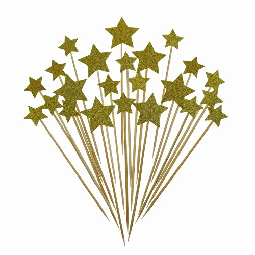 Price comparison product image Bilipala Gold Stars Cake Topper,  Cupcake Picks Star,  Cupcake Toppers For Theme Party Decorations Supplies,  36 Counting