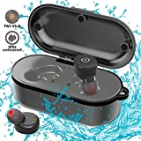 TWS True Wireless Bluetooth Headphones, IPX8 Waterproof Bluetooth 5.0 Earbuds with Mic and Noise Cancelling Headsets with Wireless Charging Case for iPhone and Android Phone(2 Pcs)