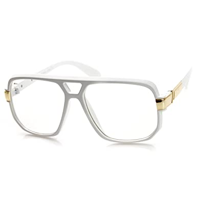 4aee633a6 zeroUV - Classic Square Frame Plastic Clear Lens Aviator Glasses (White)
