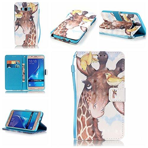 Samsung Galaxy J5 2016 Hülle im Bookstyle, Linvei ®3D-Effekt PU Leder Flip Wallet Case Schutzhülle für Galaxy J5 2016 (5.2 Zoll) Tasche Handytasche mit Magnetverschluss Kartenfach Standfunktion Muster Handyhülle