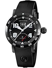 Time Master Mens Date Black PVD Case Black Face Retrograde Day Black Rubber Strap Swiss Automatic Watch CH-8145-BK