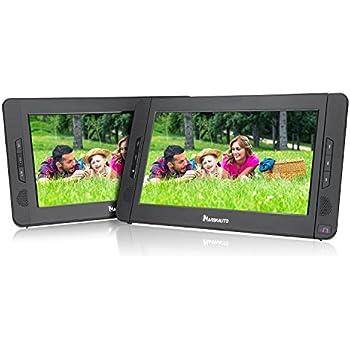 "NAVISKAUTO 10.1"" Dual Screen DVD Player Ultra-thin TFT Screen Car Backseat Headrest Portable DVD Player-Black"