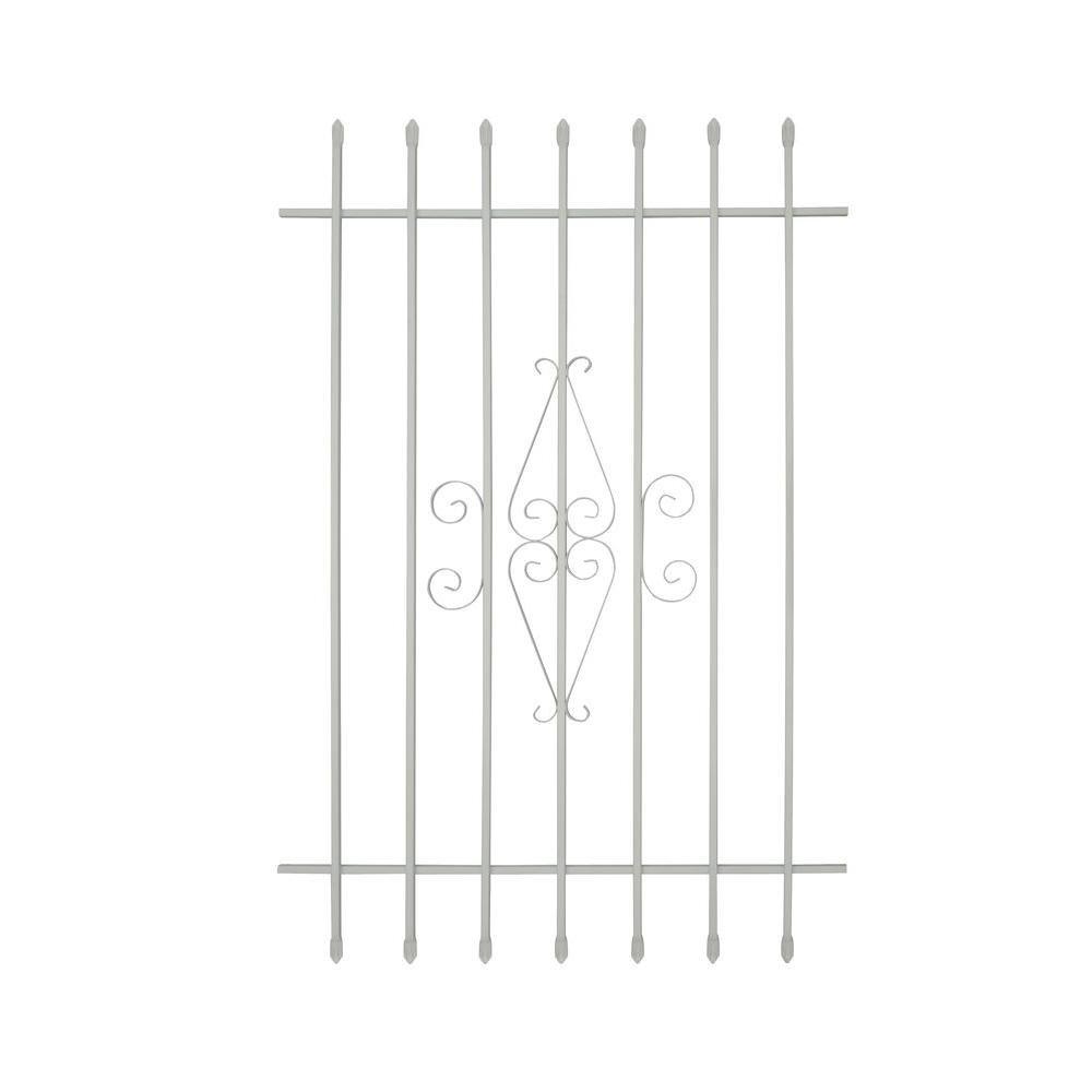Grisham 36 in. x 54 in. Spear Point 7-Bar Security Bar Window Guard, White by Grisham