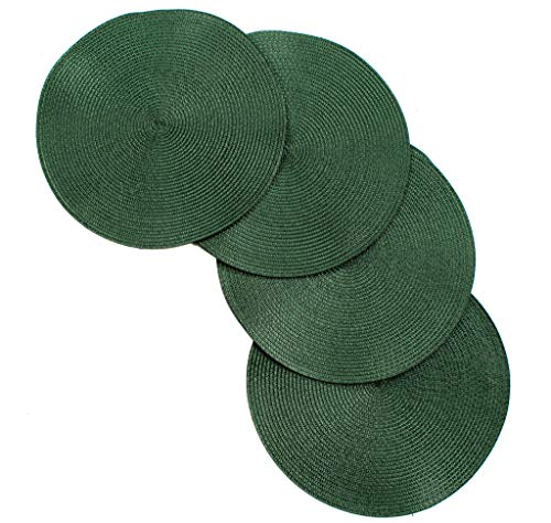 V Vienna Woven Spiral Table Placemats 15 Inches Round Set of 4 Non-Slip Dining & Kitchen Table Mats Hunter Green