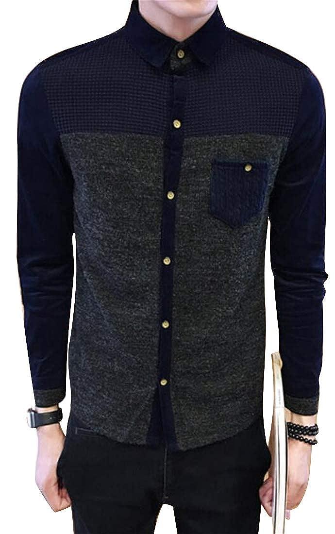 Mstyle Mens Long Sleeve Contrast Lapel Collar Regular Fit Cotton Plus Size Button Down Shirts