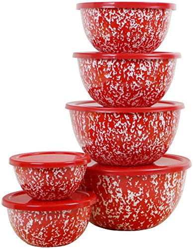 Calypso Basics by Reston Lloyd Marble 12 Piece Enamel on Steel Bowl Set, Red (Bowls Red)