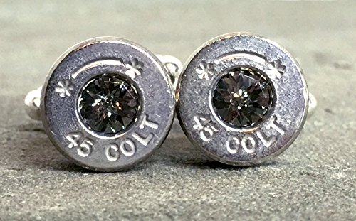 (Swarovski Cuff Links Bullet Shell Casing Colt 45 Black Diamond Grey Removed Primers Nickel Plated)