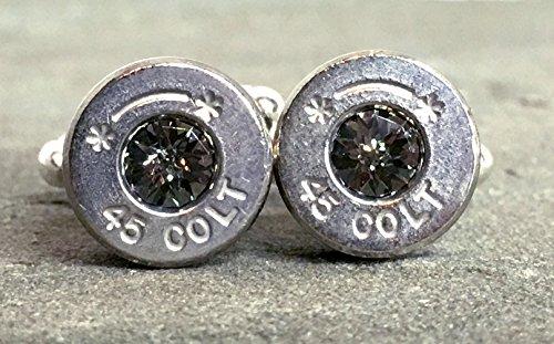 Designer Onyx Cufflinks - Swarovski Cuff Links Bullet Shell Casing Colt 45 Black Diamond Grey Removed Primers Nickel Plated