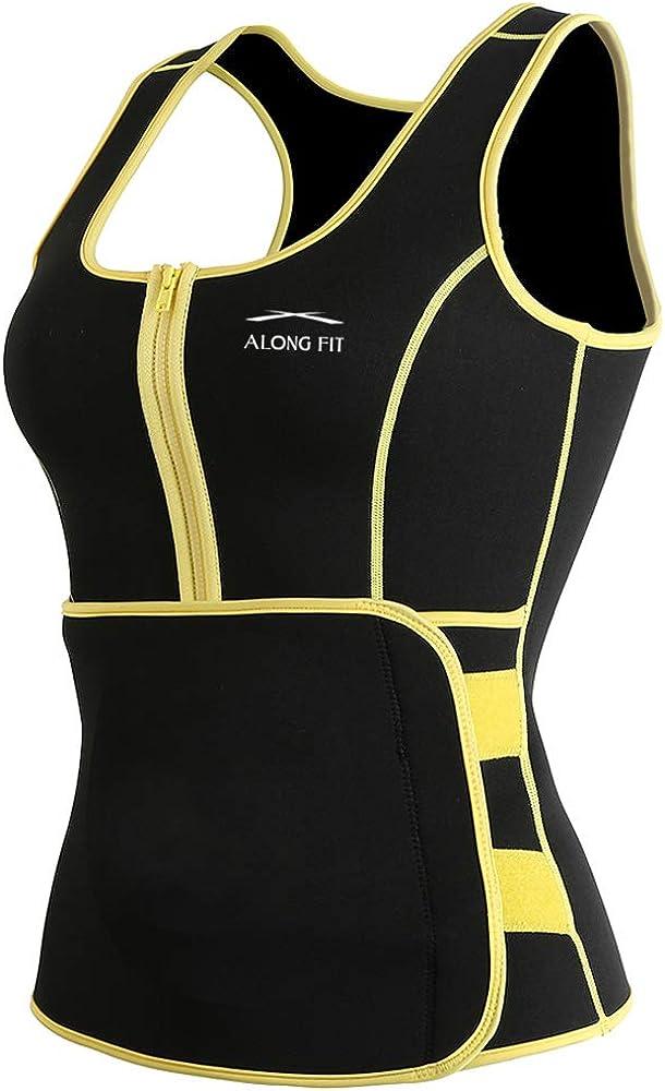 ALONG FIT Sweat Sauna Vest for Women Waist Trainer Corset Fitness Weight Loss Neoprene Body Shaper